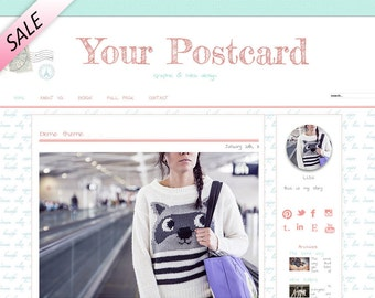 Premade wordpress theme, self hosted blog design, retro style, Your Postcard