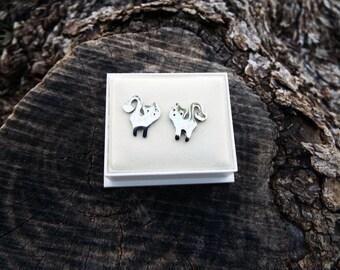 Cat Earrings Studs Silver Handmade Kitty Kitten Animal Symbol Feline Cute Gothic Dark Jewelry