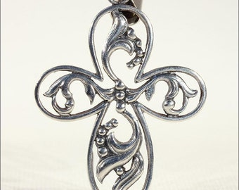 Vintage Scandinavian Silver Cross, Playfully Light and Airy