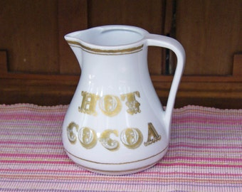 Hot Cocoa Pitcher ~ 48 oz. (6 cup) Capacity ~ White Porcelain ~ Gold Lettering ~ Pottery