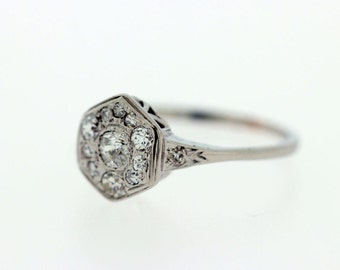 Gold Euro cut Diamond Ring with Diamond Halo