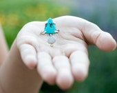 turquoise and opal ring boho jewelry turquoise and opal jewelry shield ring arrow ring modern ring sustainable jewelry festival gypsy earthy