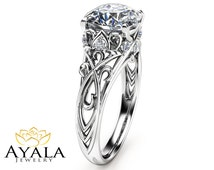 Cushion Cut Diamond Engagement Ring 14K White Gold Cushion Cut Ring Unique Diamond Engagement Ring Art Deco Ring