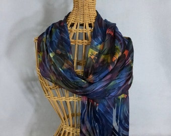 "Silk/Rayon Scarf ""Navy and Moss Blend"", Hand painted Devore Scarf, Dark Blue Scarf"