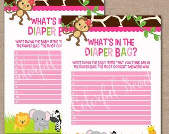 INSTANT DOWNLOAD, What's in the Diaper Bag, Jungle Baby Shower, Baby Shower Games, Jungle Baby Shower Games, Diaper Bag Game, Safari, #0017