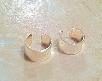Set of 2 Silver Plated Cartilage EAR CUFFs Universal fits right or left ear. Wear both on one ear.