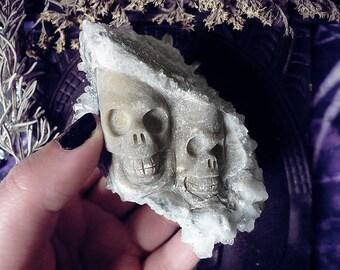 Crystal Skull, Needle Crystal, Chrysanthemum Quartz, Carved Crystal Skull, Quartz Cluster, Altar Decor