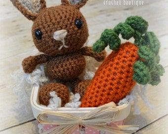 Baby Bunny & Carrot Set/Stuffed Toy/Crochet Photo Prop