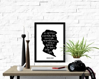 Abraham Lincoln quote. God's side. Instant download print. PDF JPG diy printable. Silhouette. Wall art. Home decor. Poster. Artwork.
