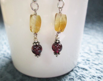 Yellow Citrine and Garnet beads earrings with Sterling Silver , Garnet earrings , Beaded earrings Citrine beads earrings , gemstone earrings