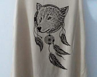 Wolf Dream Catcher Wolf Shirt Tshirt Animal Shirt tshirt Women Shirt Tank Top Women T-Shirt Tunic Top Vest Size S,M,L