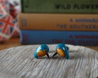 By the Shed Kingfisher Bird Earrings - Garden Bird - Gardening - Blue Turquoise Gold - Twitcher - The Good Life - Countryside - Bird watcher