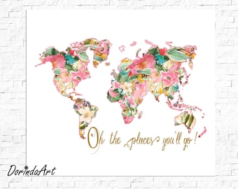 """Oh the places you'll go - 12""""x12"""" Floral map printable Instant Download"""