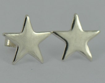 Gorgeous Medium Sterling Silver STAR Earrings Polished post stud Jewellery Jewelry girls teens women ladies gift mother daughter Handmade UK