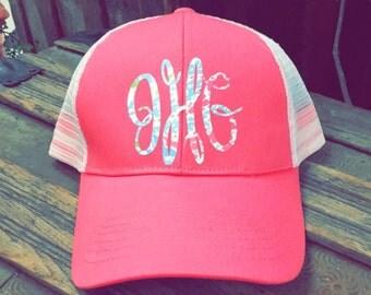 Lilly Print Monogrammed Trucker Hat