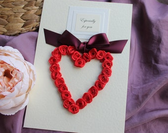 Personalised Card Girlfriend, Elegant Heart Card For Wife, I Love You Fiancée, Romantic Gift