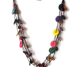 Brightly coloured coconut shell necklace, round multicolored discs. Triple Three Loop Style With Closure.