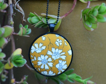 Necklace | Liberty Fabric Necklace | Liberty London | Pendant Necklace | Fabric Button Necklace