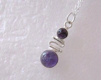Necklace ~  Amethyst  Sterling Silver pendant  Sterling Chain