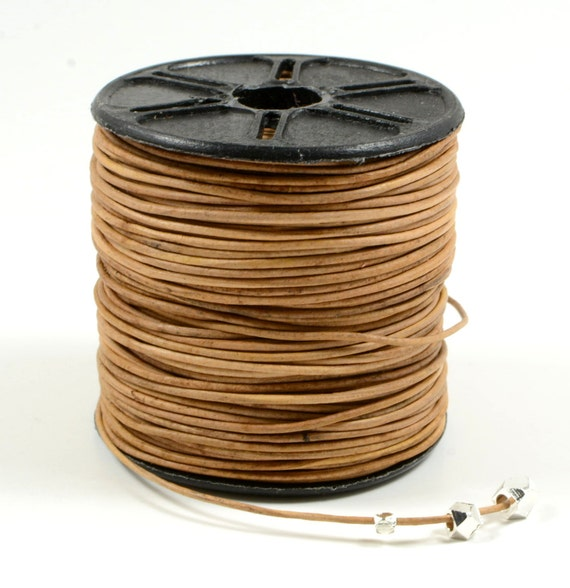 0.5mm leather cord in natural light brown, fine genuine leather cord - 1 yard/order
