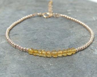 Birthstone bracelet, Citrine bracelet Beaded birthstone bracelet, November birthstone, Dainty gemstone bracelet, Delicate citrine jewelry