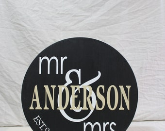 Wooden Family Name Sign - personalized wooden circle sign for wedding decor and home decor