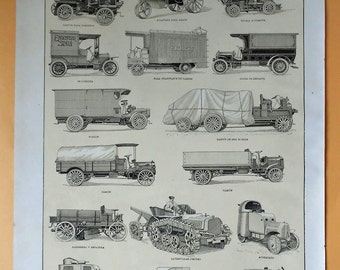 1900 OLD CARS, TRUCKS Antique Fine Lithograph... 115 years old nice print!