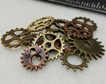 Steampunk Crafting Gears: lot of 12 Small Metal Clockwork Gears, brass, copper, bronze. Weathered Steam Punk Costume Jewelry Accessories