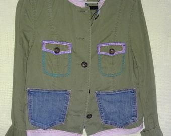 Upcyled Jacket Boho Chic Handpainted