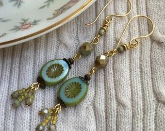 TOUCH of LIME, Beaded Earrings, Dangling Earrings, Czech Glass Earrings, Chartreuse, Twinkling Of An Eye, Gift for Her, Boutique Jewelry