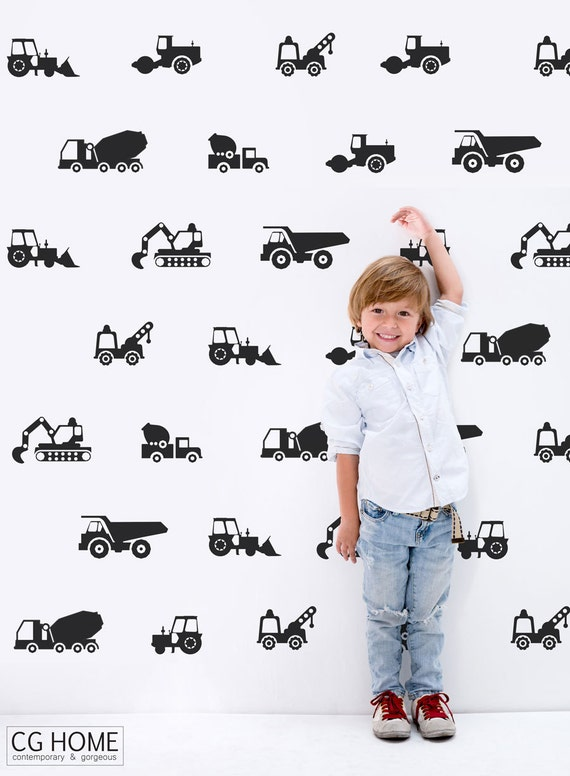 The Builder Collection Tractor Excavator Cars Vehicles Wall Decal vinyl Stickers Customized cars colors NURSERY decoration BOYS room CGhome