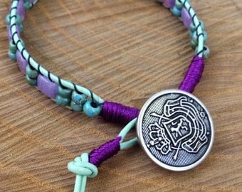 Purple, Aqua, & Mint Ladder Bracelet