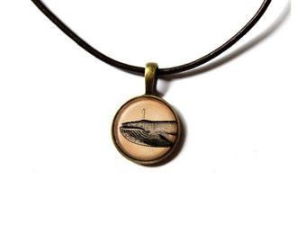 Nautical jewelry Whale necklace Vintage pendant NWR474