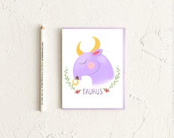 Taurus Card, Astrology Card, Zodiac Card, Zodiac Birthday Card, Taurus Birthday, Astrology Gift, Gift for Taurus, Taurus Art
