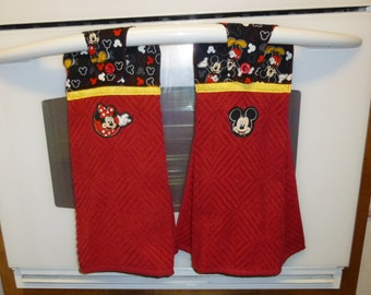 Kitchen Towels,Set of Mickey and MInnie Mouse Kitchen Terry Towel, Stay put hanging Kitchen Towels, Minnie Mouse Microwave Bowl Cozy