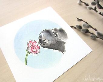 Flower Pugs: Tulip Angelique Black Pug Art Print - Spring Flower Print, Cute Pug Decor, Garden Art Square Print with Pugs by Inkpug