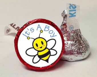 Baby Bumble Bee Candy Labels ~ Its A Boy ~ 108 Hershey Kiss Candy Label Stickers, Hershey Kiss Stickers, Baby Shower, Baby Announcement