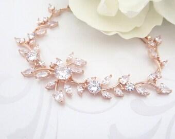 Rose Gold bridal bracelet, Crystal Wedding bracelet, Bridal jewelry, Rose Gold jewelry, CZ bracelet, Bridesmaid bracelet, Bridesmaid jewelry