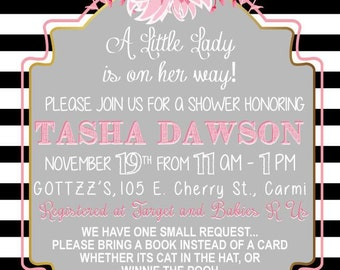 Black and white Little Girl Baby Shower Invitation (DIGITAL COPY)