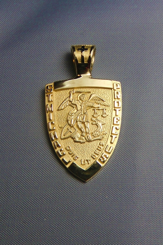 st michael medal 14k gold necklace by