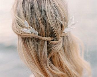 "Bridal headpiece-Bridal hair pins- Leaf headpiece- Clay leaf- Hairpins- White headpiece- Leaf hair accessory- TWRA ""VENDELA"" Hairpins"