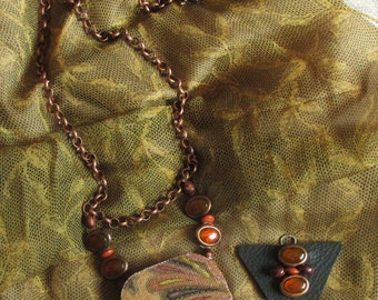 Recycled Handmade Boho Necklace | Recycled Jewelry Boho Necklace Eco-Friendly Hippie Necklace Paisley