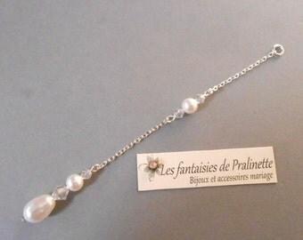 Bijoux mariage de dos en chaine et cristal, pendentif mariage de dos goutte nacrée en cristal, accessoires, Bridal backdrop necklace crystal