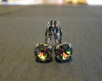 Vitrail Medium Crystal Earrings/ Gunmetal Swarovksi Earrings/Rainbow Crystal Earrings/ Swarovski Earrings/Bridesmaid Earrings/8mm Earrings