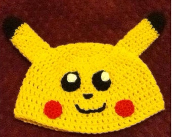 Crocheted Pokémon Pikachu Beanie Hat