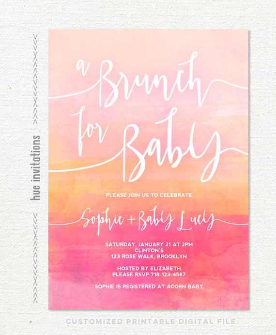 baby shower brunch invitations for baby girl peach pink coral baby