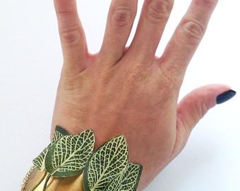 ONE OF A KIND Handmade Brass Cuff, Leaf Bracelet, Boho, Sexy, Tribal, Festival, Gypsy, Goddess, Chain (Garden Goddess Bracelet)