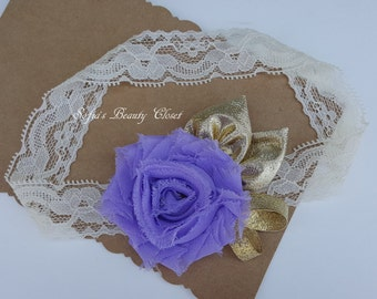 Lavender headband. Lavender gold headband. Newborn headband. Infant headbands. Lace headband. Easter newoborn. Easter headband baby