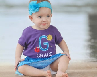 Girl Summer Shirt with Glitter Crab and Sun with Embroidered Name