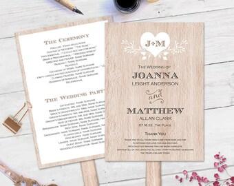 Rustic wedding program  template-DIY wedding program fan template-Printable-Instant download-rustic| wooden| heart-T81